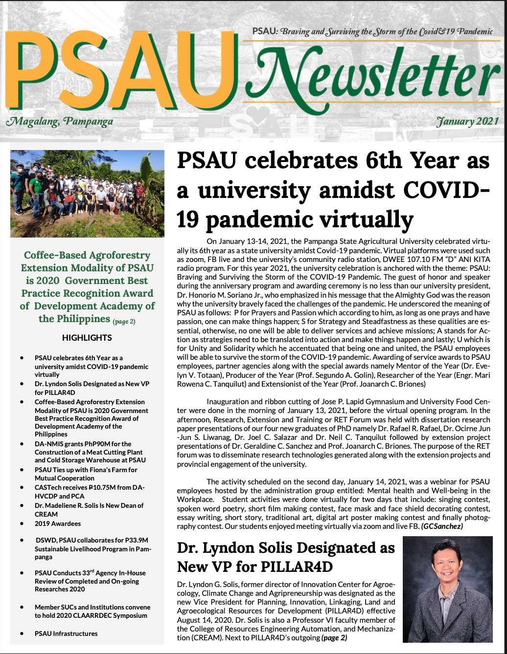 PSAU NEWSLETTER 2021 new